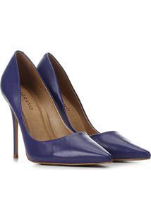 Scarpin Couro Carrano Salto Alto Clássico - Feminino-Azul Escuro