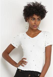 Blusa Lily Fashion Tricot Pérolas Feminina - Feminino-Branco