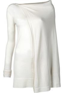 Rick Owens Suéter Longo Em Cashmere - Branco