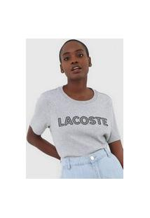 Camiseta Lacoste Bordada Cinza