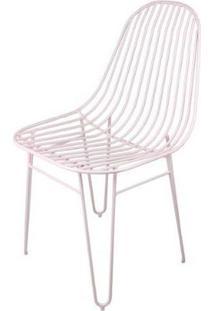 Cadeira Invisi Trama Rosa Base Aco Rosa 45 Cm - 59977 - Sun House