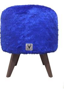 Puff Pé Palito Redondo Alce Couch Pelinho Pelucia Azul 40Cm