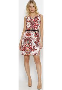 Vestido Floral- Branco & Vermelhovip Reserva