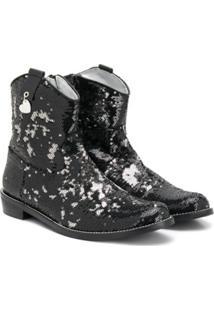 Monnalisa Ankle Boot Com Aplicação De Paetês - Preto