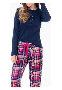 Pijama Longo Com Peitilho Abotoável Laibel (15.011477) Marinho