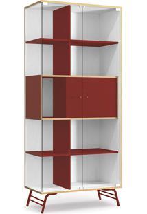 Cristaleira 2 Portas De Vidro - Po601 Pop - Kappesberg - Branco / Marsala