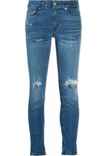 Dondup Calça Jeans Cropped Com Efeito Destroyed - Azul