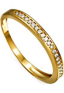 Brinco Em Ouro Pendulo Gota Com Zirconias - Br15788