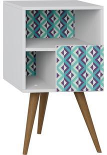 Mesa De Cabeceira Com Porta Lyam Decor Retrô Branco Estampa Azul