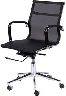 Cadeira Office Eames Em Tela- Preta & Prateada- 97X6Or Design