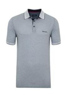 Camisa Polo Pierre Cardin Jacquard Masculina - Masculino-Cinza