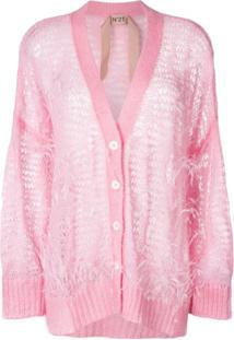 Nº21 Cardigan Oversized Com Penas - Rosa