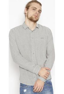 Camisa Straight Listrada Com Bordado - Preta & Branca