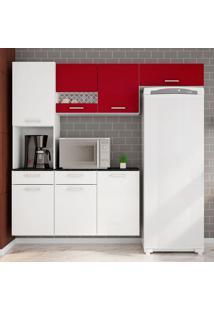 Cozinha Compacta Ana 4 Peças Com Tampo - Poliman - Branco / Marsala