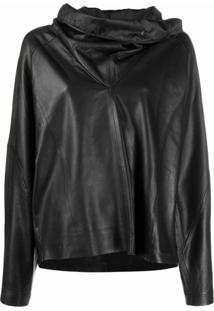 Remain Wide-Collar Pullover Leather Top - Preto