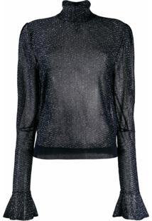 Chloé Blusa Metalizada Translúcida - Azul