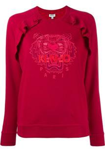 Kenzo Moletom Com Tigre Bordado - Vermelho