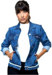 Jaqueta Jeans Sob Com Detalhes Desfiados Com Bolsos Feminina - Feminino
