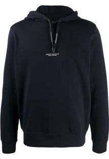 Armani Exchange Logo Drawstring Hoodie - Azul