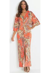 Vestido Kimono Com Nó Estampa Correntes Laranja
