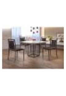 Conjunto De Mesa De Jantar Hera Com Tampo De Vidro Siena E 4 Cadeiras Grécia I Couríssimo Marrom E Grafite