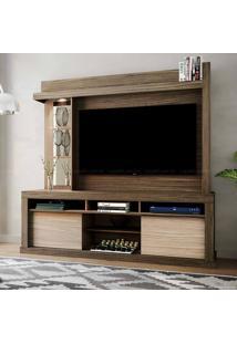 Estante Home Theater Para Tv Até 50 Polegadas 2 Portas Com Espelho, Vidro E Led Flex Color Maracá Malbec/Riviera/Malbec - Colibri