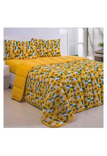 Kit Coordenado Edredom Basic Girassol Amarelo C/ Lençol Queen Dupla Face 04 Peças - Malha 100% Algodáo
