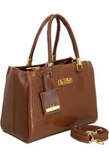 Bolsa Handbag Verniz Croco De Mão Com Zíper Grande Feminina - Feminino-Marrom