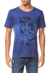 Camiseta Ckj Mc Est Engrenagem - Azul Médio - Pp