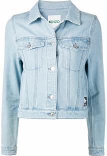 Kenzo Jaqueta Jeans Com Patch De Logo - Azul