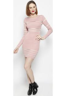 Vestido Com Transparência- Rosa Claro- Le Fixle Fix