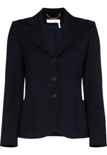 Chloé Single-Breasted Blazer Jacket - Azul