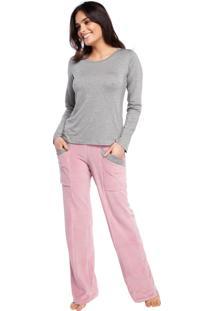 Pijama Feminino De Inverno Com Calça Plush Rosa - Tricae
