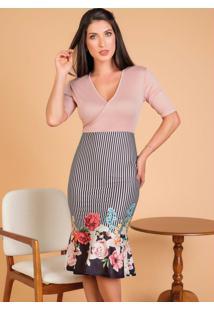 Vestido Transpassado Floral Moda Evangélica