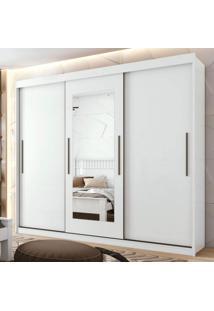 Guarda Roupa Casal Com Espelho 3 Portas Aquarius Móveis Lopas Branco