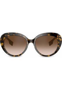 Burberry Eyewear Óculos De Sol Oversized - Marrom