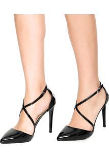 Scarpin Dafiti Shoes Tiras Transpassadas Preto