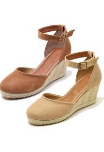 Kit 2 Sandálias Ousy Shoes Anabela Espadrille Nude