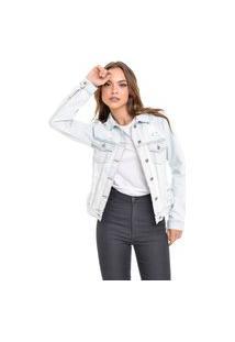 Jaqueta Jeans Dialogo Delavê Com Puídos E Rasgos