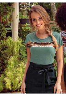 Blusa Com Bordado De Lantejoulas Verde Cativa