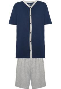 Pijama Masculino Em Malha Com Camisa De Mangas Curtas E Bermuda