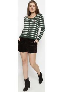 Cardigã Listrado Com Bordado- Verde Escuro & Branco-Cotton Colors Extra