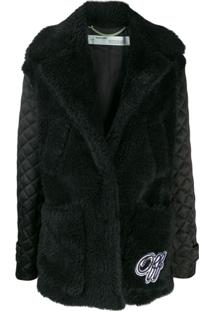 Off-White Faux-Fur Padded Coat - Preto
