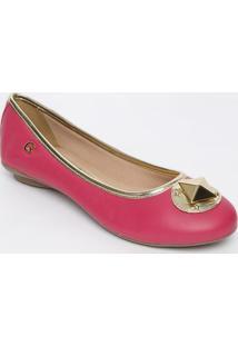Sapatilha Em Couro Com Aplicação- Pink & Douradacarmen Steffens
