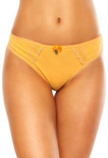 Calcinha Love Secret Fio Dental Renda Amarela