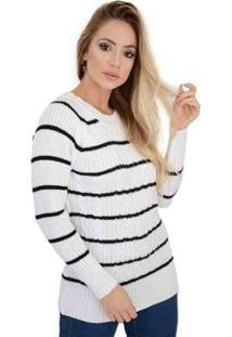Blusa Livora Listras Trançada Tricot Feminina - Feminino-Branco+Preto