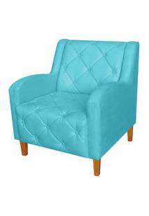 Poltrona Decorativa Munique Pés Trapézio Suede Azul Turquesa - Ds Estofados