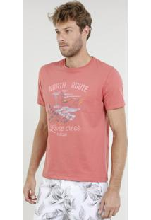 "Camiseta Masculina ""North Route"" Manga Curta Gola Careca Coral"
