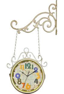 793eec726df ... Relógio De Decoração De Parede Com Suporte Face Dupla Retrô Vintage  Estação De Trem Wold Map