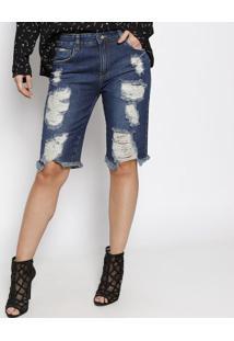 Bermuda Soraia Jeans Com Puídos - Azul - Le Lis Blanle Lis Blanc